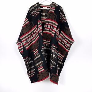 Aztec Open Front Poncho OS